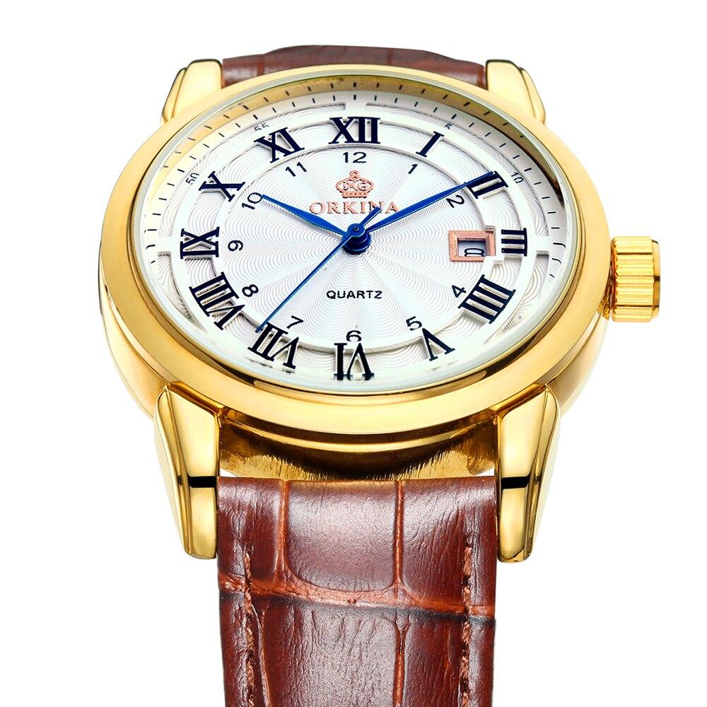 ORKINA 2017 Reloj Hombre Leather Strap Golden Watch Men Miyota Quartz Movement erkek kol saati Quartz-watch Relogio Masculino reloj hombre wishdoit quartz watch men