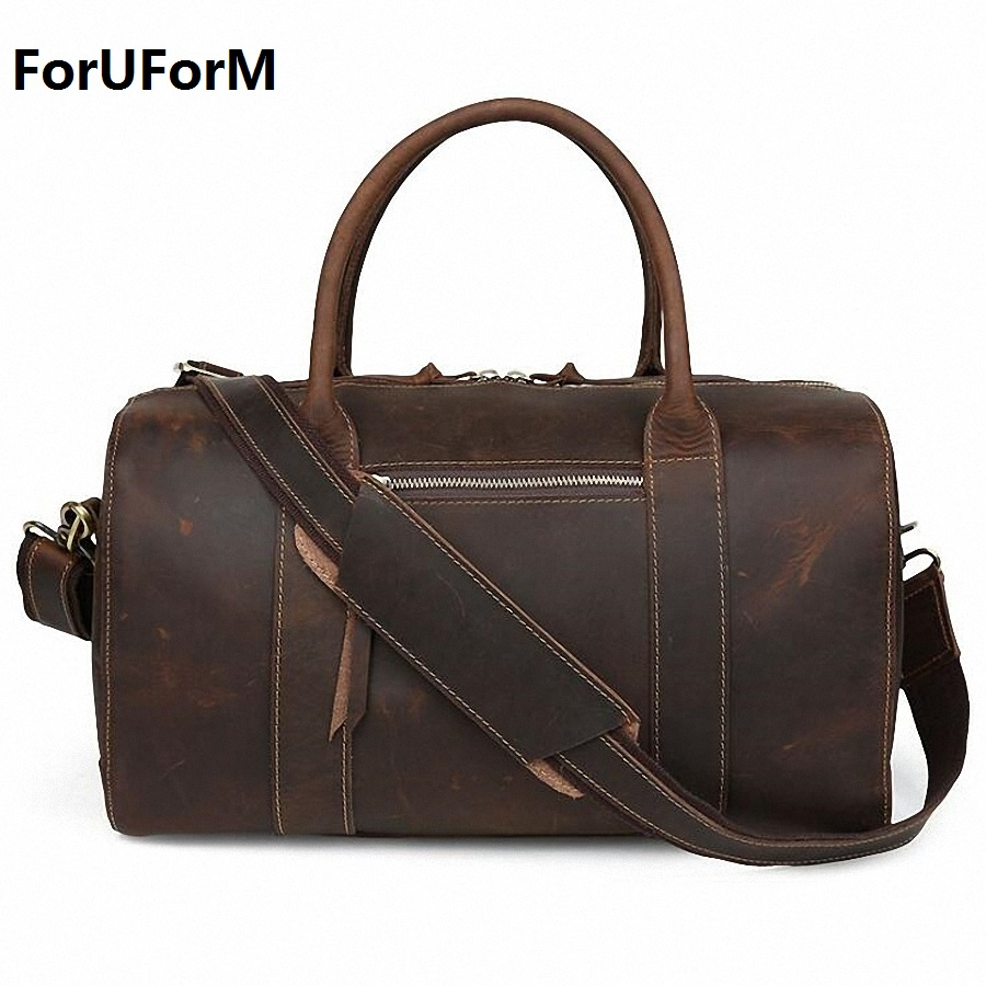 New Arrival Crazy Horse Leather Unisex Huge Luggage Bag 100% genuine leather Travel duffle bag Tote Bag retro travel bags LI-643 7077r crazy horse leather unisex dark brown huge luggage bag tote bag travel bag