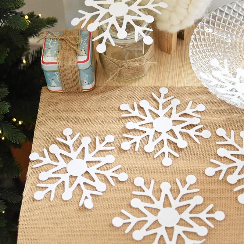HAOCHU 30pcs Pure Snowflake Shape Christmas Tree Decoration Hanging Drop Ornaments Shop Window Sticker Display Supplies