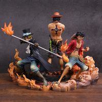 Anime One Piece DXF Brotherhood II Monkey D Luffy Portgas D Ace Sabo PVC Action Figures Collectible Model Toys 3pcs/set
