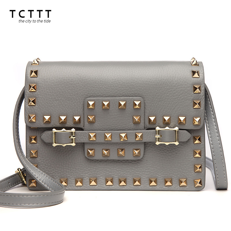 TCTTT luxury designer Rivet woman Messenger bags High Quality Cowskin Tote bag Fashion Clutch crossbody Handbags Bolsas Feminina tcttt luxury handbags women bags designer fashion women s leather shoulder bag high quality rivet brand crossbody messenger bag