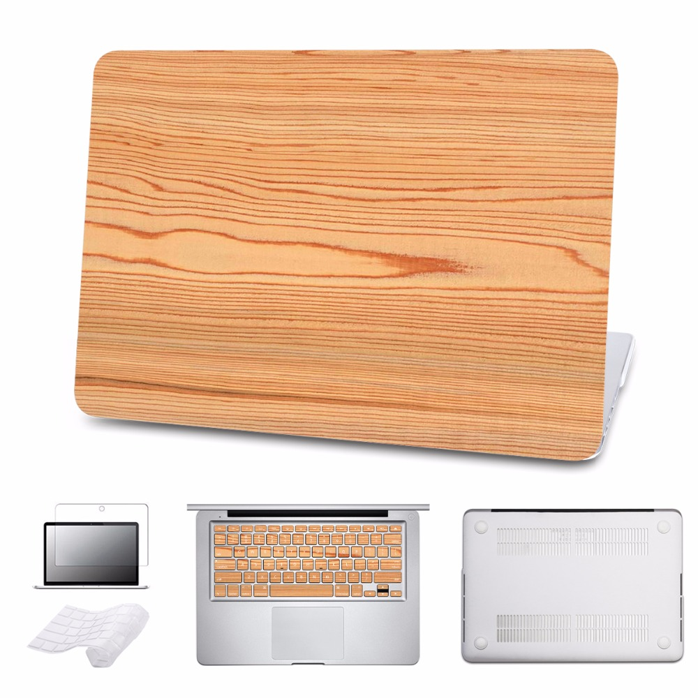 5 in 1 Bundle Case For Macbook Air/Pro 11 12 13 15 Ratina Laptop Hard Cases for Pro 13 Touch bar 2016 Wood Grain Cover Shell