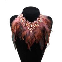 ZMZY Большой Коренастый себе кристалл кулон кристалл цепочки и ожерелья роскошные стиль перо воротник колье украшения для женщин