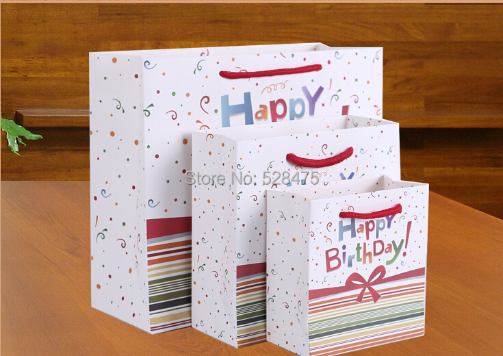 Wholesale 500pcs Lot Happy Birthday Printing Paper Bags Gift Party Lolly Favour Packaging Shopping