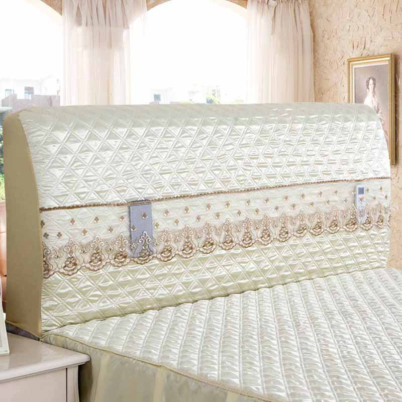 Modern Bed Headboard Cover Embroidery Lace Elastic Bed Headboard Protective Dust Cover with Storage Bag for Phone Remote Control