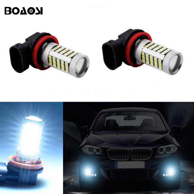 BOAOSI For BMW Ford Mitsubishi Honda civic accord crv H11 LED Fog Light Bulbs 2pcs boaosi 2x h11 led canbus 5630 33 smd bulbs reflector mirror design for fog lights for honda civic fit accord crider crv