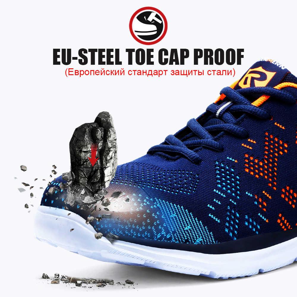 LARNMERN легкая дышащая мужская защитная обувь со стальным носком рабочая обувь для мужчин против разбивания конструкции кроссовки со светоотражающими