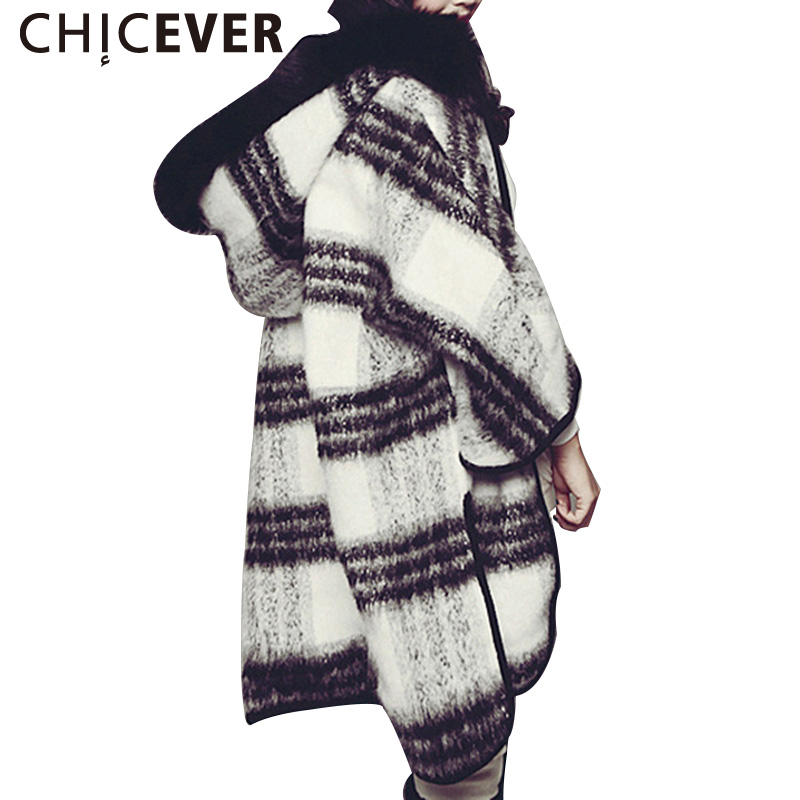 CHICEVER Black White Plaid Hooded Coat Female Wool Blends Winter Coats Women Cloak Sleeve Cape Cardigan Casual Clothes Plus Size