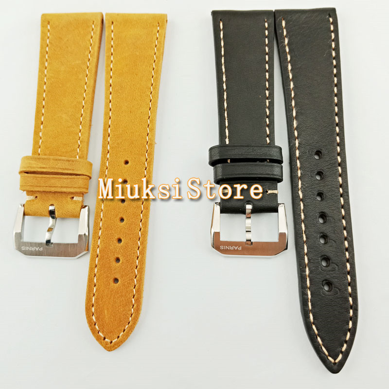 22mm Leather Bands Stainless Steel Buckle Black/camel Men Watch Strap