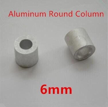 50 Stks/partij 6mm Aluminium Ronde Draad Touw Adereindhulzen Ronde Gat Aluminium Spacer Aluminium Clip