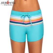 e170963322 SEBOWEL 2019 Sexy Striped Print Lace up Swimwear Shorts Women Summer  Drawstring Board Shorts Swimsuit Female