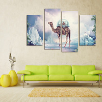 FOUR PC NO FRAME Castle On The Camel S Back Tower Oil Painting Printed Oil Painting