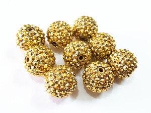 Image 1 - Il più nuovo! 20 millimetri 100 pz/lotto Perline Oro Con Oro Resina Branelli della Sfera del Rhinestone, Perline Grosso Per I Bambini Monili Che Fanno