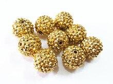 ¡Lo más nuevo! 20mm 100 unids/lote cuentas de oro con cuentas de bolas de diamantes de imitación de resina dorada, cuentas gruesas para fabricación de joyas para niños