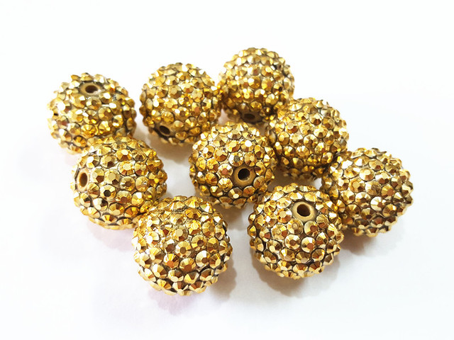 Newest !  20mm 100pcs/lot Gold Beads With Gold Resin Rhinestone Ball Beads,Chunky Beads For Kids  Jewelry Making