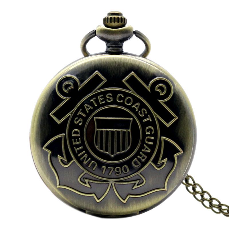 2019 Fashion United States Coast Guard 1790 Vintage Quartz Pocket Watch For Men With Bronze Chain Unique Gifts