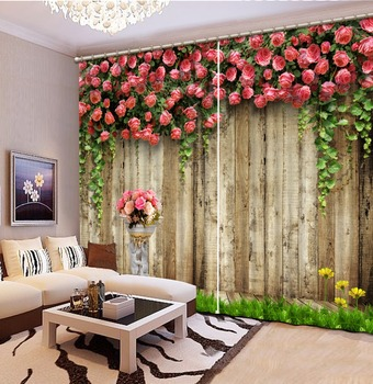 Customize Size 3D Curtain Wooden Wall, Flowers, Green Grass Bed room Living room Office Hotel Cortinas 3D Curtain Blackout