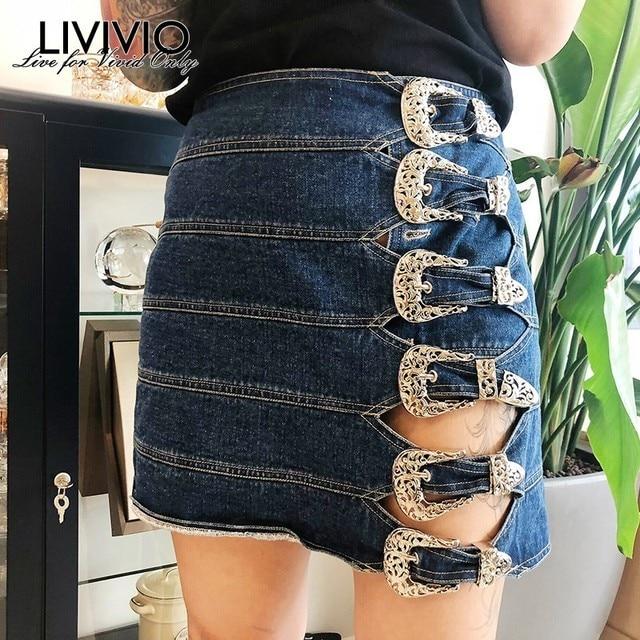 Livivio Faldas Cortas De Mezclilla Cintura Alta Mujer Ahuecado Botones Mini Falda Mujer Casual Ropa Moda 2019 Primavera