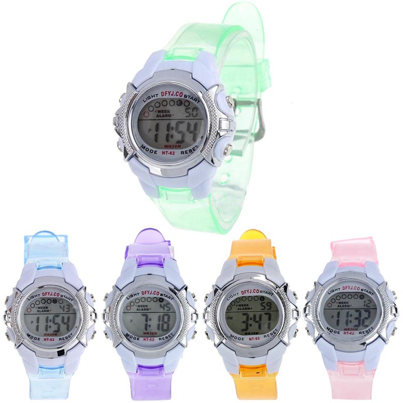 Fashion Casual Children Girls Digital LED Quartz Alarm Date Sports Wrist Watch
