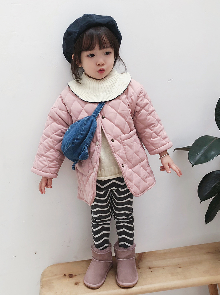 Image 3 - Girls Winter fashion polar fleece thicken single breasted long coats with neckerchief kids warm long jackets outwear clothing-in Down & Parkas from Mother & Kids