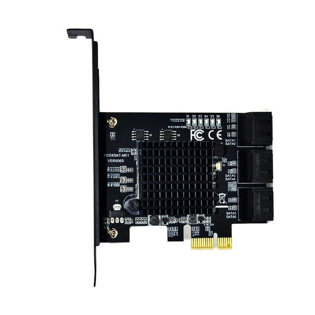 HOT For Marvell 88Se9215 Chip 6 Ports Sata 3.0 To Pcie Expansion Card Pci Express Sata Adapter Sata 3 Converter With Heat Sink