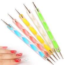 5 unids 2Way Que Puntea la Herramienta Marbleizing Pen Pintura Fluorescente Nail Kristall Belleza DIY Manicure Pen Pintura de Uñas Herramientas de Arte