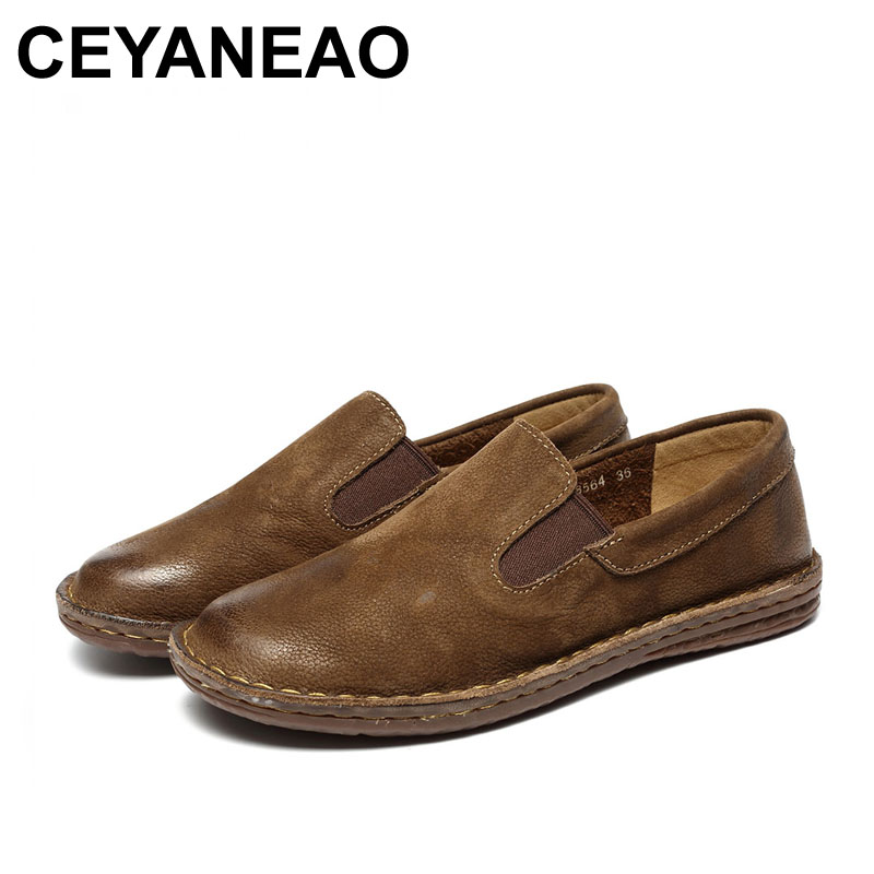 CEYANEAO 2019 New Women Shoes Genuine Leather Round Toe Flats Slip On Design 8564