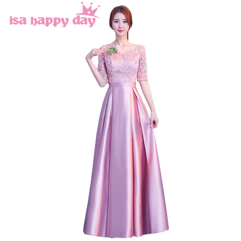 bcdcff9c83f4 2018 filles longue modeste dentelle moitié manches o cou satin party robe  dentelle dans le dos élégant robes de bal modeste robes de bal H4184