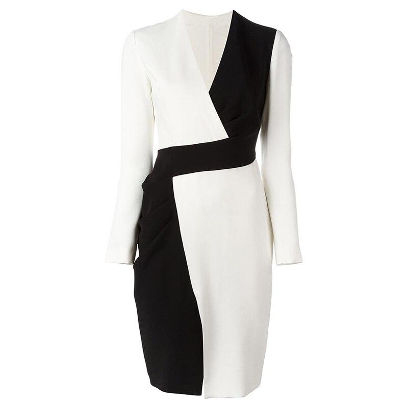 Women Office Bodycon Dress Black White Long Sleeve V-Neck Wrap Patchwork Dress Fashion Lady Elegant Irregular Pencil Dress