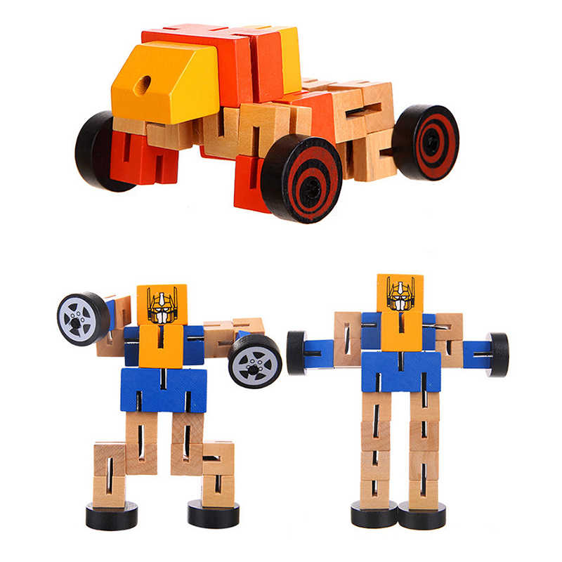 1 шт. деревянные сменные формы робот DIY Строительные кубики, детские игрушки для детей обучающий Интеллектуальный подарок