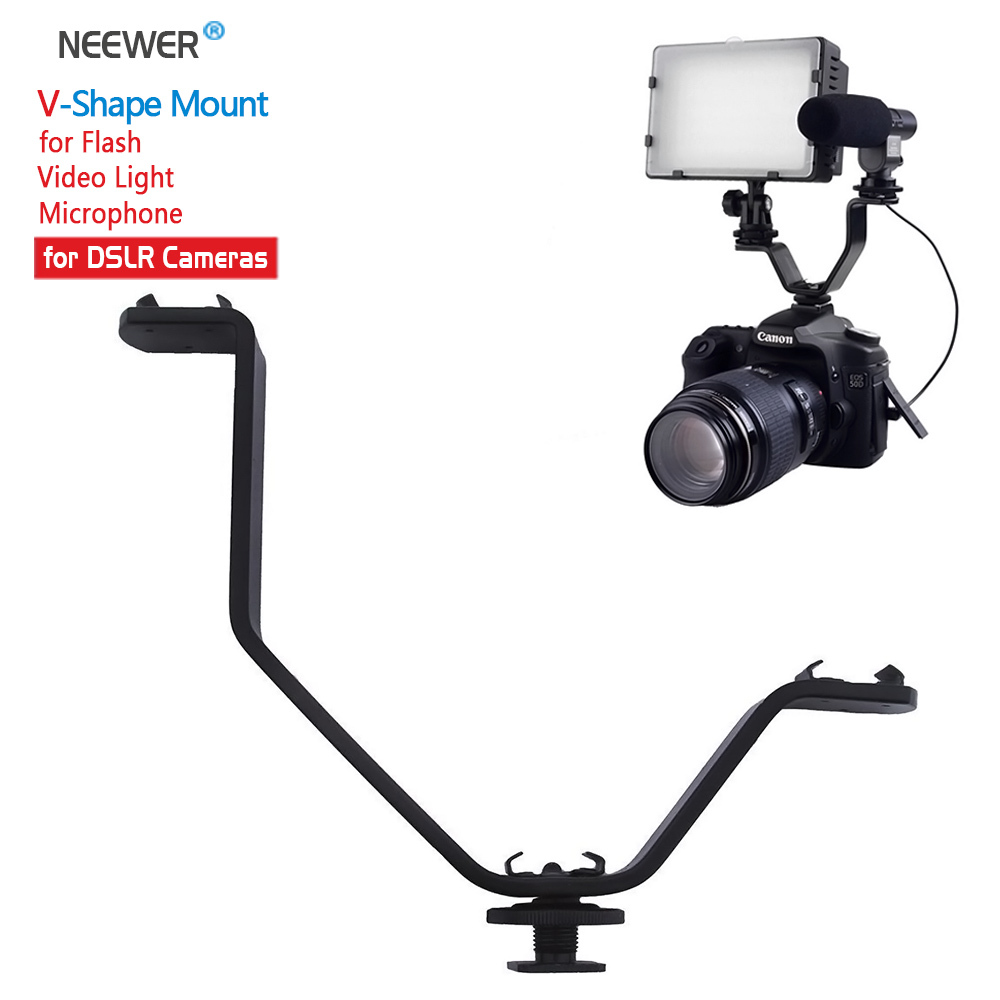 "Neewer 1/4"" V shape Triple Mount Cold Shoe Flash Bracket for Video Lights Speedlite Microphones or Monitors on Cameras"