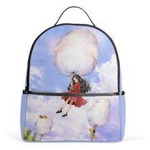 Qokr Женщины Девушки и облака печати рюкзаки холст feminina Сказка история Bookbags для девочек-подростков cartoonbook сумки