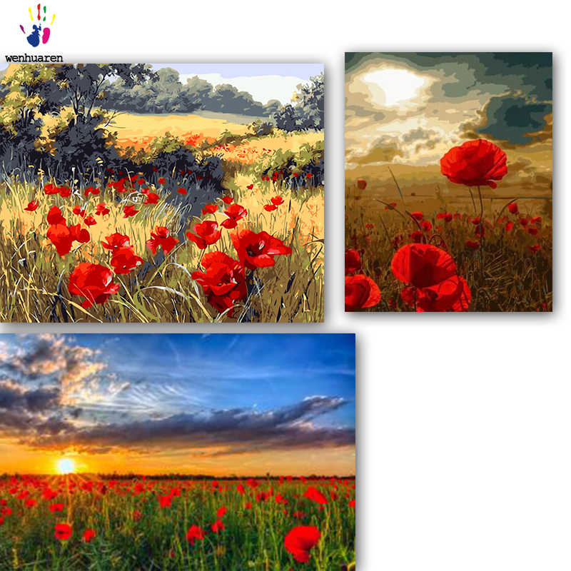 DIY colorings pictures by numbers with colors A sea of flowers in the wild picture drawing painting by numbers framed Home