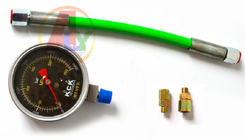 0-250Mpa Common rail tube pipe pressure test gauge \Common rail High Pressure tester for common rail plunger cr508 diesel common rail pressure tester and simulator for bosch delphi denso sensor test tool diagnostic tools high pressure