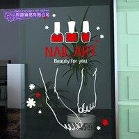 DCTAL Nail Art Sticker Feet Beauty Salon Decal Shop Store Business Wall Art Stickers Decal DIY