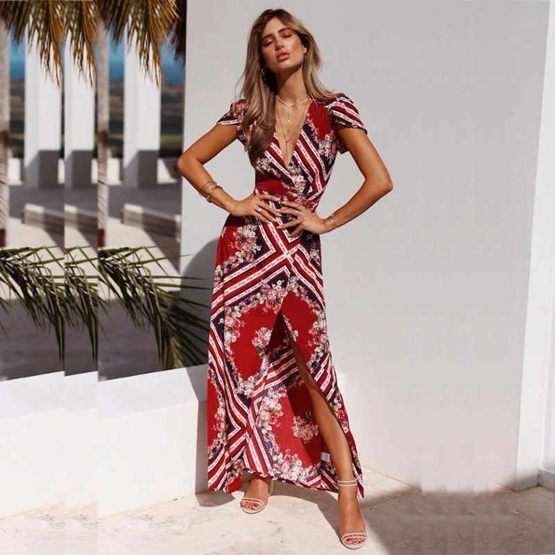 1fda3d7cd1b99 yinlinhe Long Maxi Summer Dress Women Short Sleeve V neck Red Floral  Beach/Wrap Dress Bohemian Sash Slim Split Vestido 414