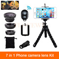 7in1 Phone Camera Lenses Kit 3in1 Fisheye Wide Angle Macro Lens For Samsung Xiaomi Huawei Lenovo Clips Tripod Bluetooth Shutter