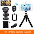 7in1 kit de lentes de cámara del teléfono 3in1 fisheye lente gran angular macro para samsung xiaomi huawei lenovo clips trípode obturador bluetooth