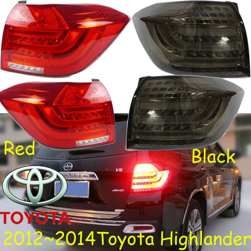 Highlander taillight,2012~2014;Free ship!LED,2pcs/set,highlander rear light;Black/Red color,highlander fog light