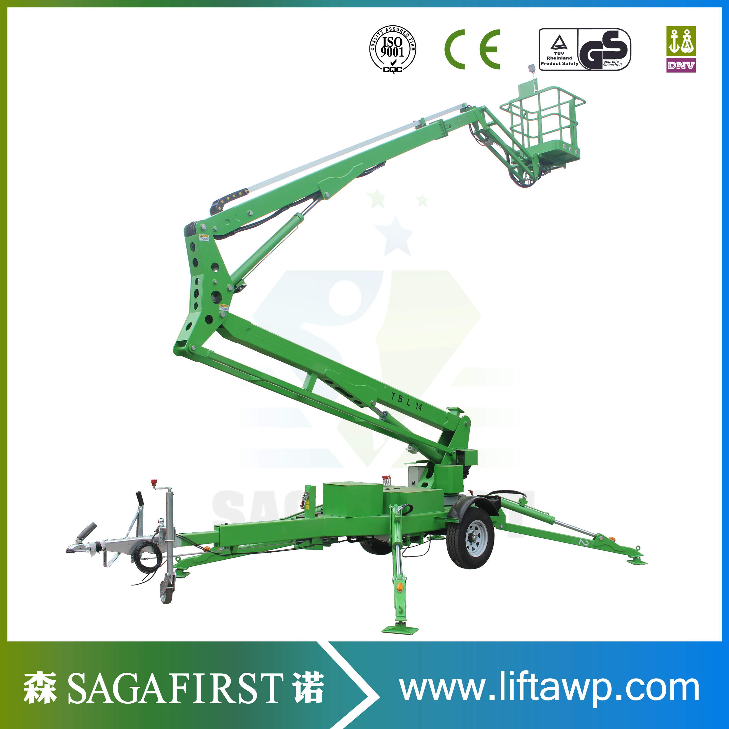 Self Propelled Mobile Boom Lift Towable Cherry Picker Spider Lift For Sale