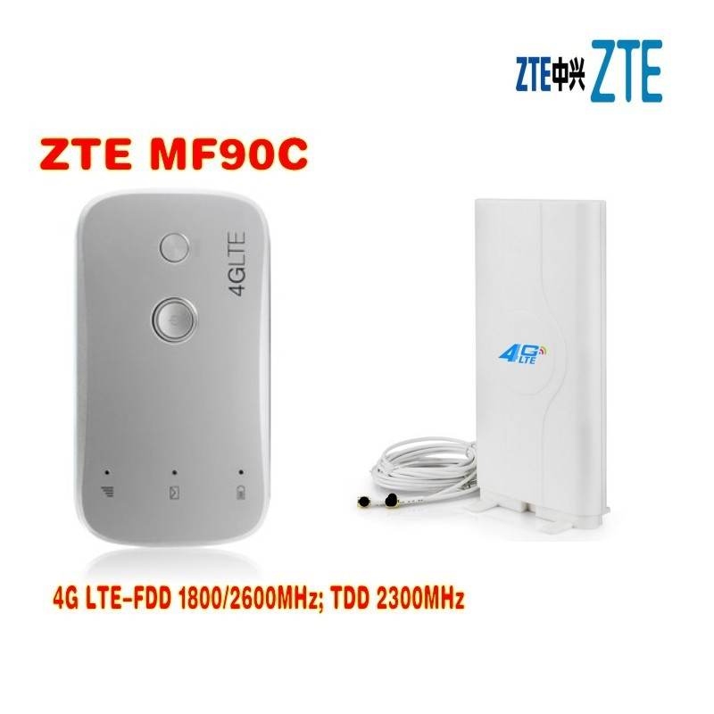 все цены на Unlocked New ZTE MF90 MF90C 4G LTE MiFi Router Mobile WiFi Hotspot Router&4G 100Mbps Pocket WiFi Router plus 4g antenna онлайн