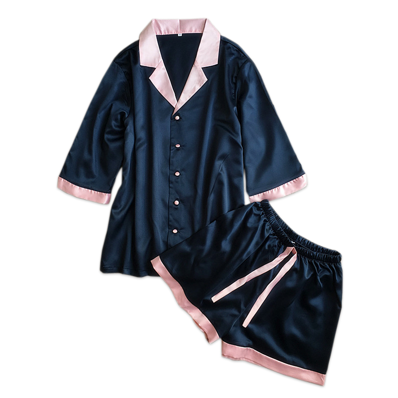 Sexy satin silk   pajamas   for women short sleeves   pajama     sets   women shorts Cute indoorwear ladies shorts   pajamas   Summer pyjamas