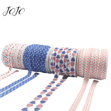 JOJO BOWS 15mm 5y Cloth Ribbon For Craft US National Flag Thermal Transfer Sideband DIY Bows Gift Wrapping Party Decoration