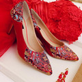 Ethnic style embroidered shoes female high heels Red wedding shoes spring autumn Women Shoes women pumps damski boty