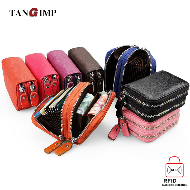 TANGIMP Double Zipper Credit Card Holder RFID Genuine Leather Women Men Wallet Small Business Card Bags Wallet Cowhide Purse