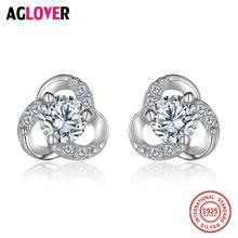 925 Sterling Silver Earrings Woman Fashion Charm Flowers AAA Crystal Female Jewelry