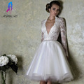 Classic White Lace Full Sleeves Cocktail Dresses Formal Women Dress Ball Gowns Deep V-Neck Tulle Zipper Back Knee Length