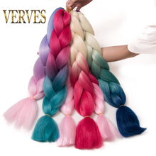 VERVES Braiding Hair 1 piece 24 inch Jumbo Braids 100g/piece Synthetic ombre Kanekalon Fiber Hair Extensions(China)