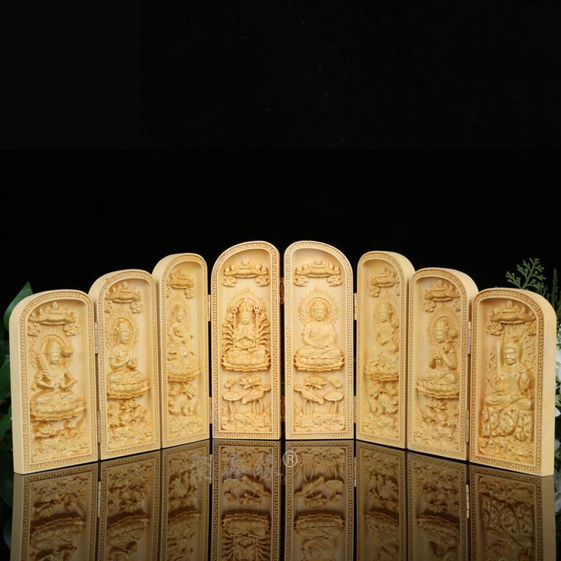 Buis, siège de lotus, huit bouddha, saint patron, statue, les trois saints de l'ouest, artisanat de sculpture sur bois, bouddha en bois