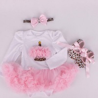 New Baby Girl Clothing Sets Infant Easter Lace Tutu Romper Dress Jumpersuit Headband Shoes 3pcs Set